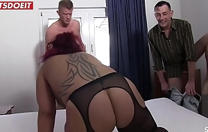 German inexpert housewife gets shared with a Stranger