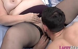 Gran alongside stockings pounded