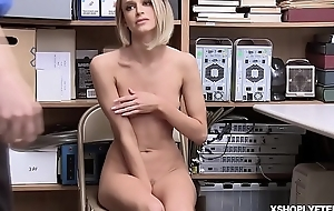 Shoplyfter Emma Hix goes down to their way knees added to blowjob burnish apply LP Officers cock!
