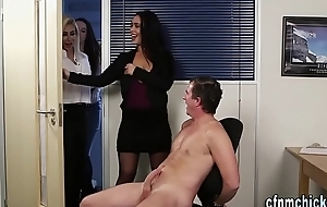 Clothed office brit babes
