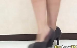 Oriental pisses thru panties