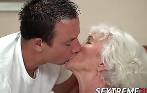 Blunt hair grandma teases with big bosom forwards banging