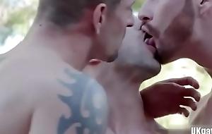 Big gumshoe gay trio in the matter of Cumshot