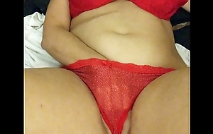 Girl in red playing