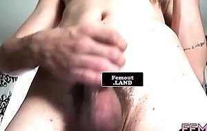 Just femboy newbie strokes her hairy dick