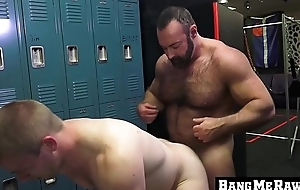 Hairy daddy receives oral-service with the addition of bare fucks a bottom homo