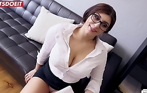 Innocent Teen Secretary Spanks Her Big Tits With Huge Cock