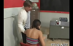 Tiny titted schoolgirl gives wet blowjob and rides jock