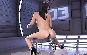 Slim small tits babe fucks machine
