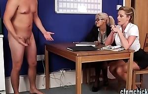 Cfnm mistresses tug cock