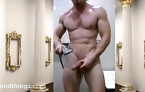 Locker Room Flex Muscular Hung Bodybuilder then showers Unclad Zak Rogerz hard blarney