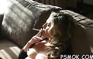 Irresistible suitor smokin'_ a wash out naked in armchair