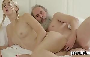 Erotic schoolgirl is enticed and penetrated by doyen preceptor