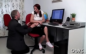 Younger doxy is preparing to take some grey dick prevalent her wet cunt