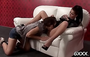 Stupefying lesbian infant in hot underware receives pussy licked